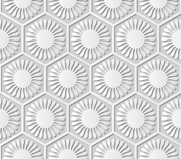 シームレスパターン3 dペーパーアートポリゴンラウンド花ジオメトリセルフレーム