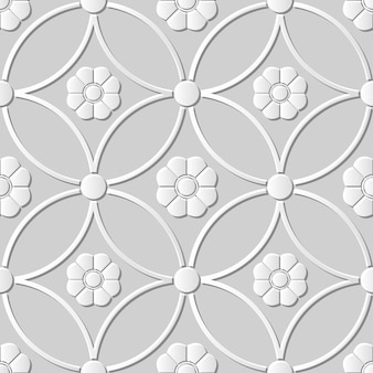 Seamless pattern 3d paper art round cross frame flower