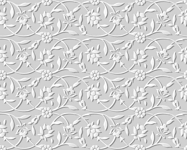 원활한 패턴 3d 종이 예술 나선형 라운드 자연 포도 나무 정원 꽃