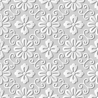 Seamless pattern 3d paper art spiral vine round flower