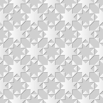 Seamless pattern 3d white paper art background octagonn star cross triangle geometry