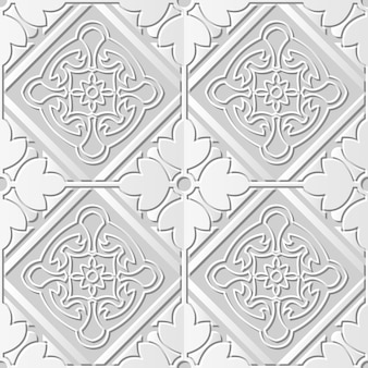 Seamless pattern 3d white paper background square check cross round flower frame