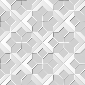 Seamless pattern 3d white paper cut art background check star cross geometry
