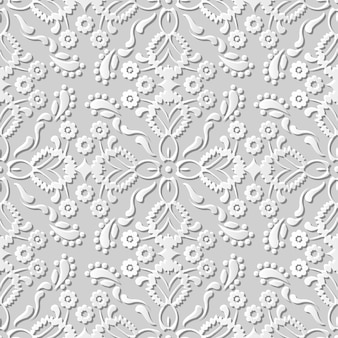 Seamless pattern 3d white paper cut art background cross flower kaleidoscope