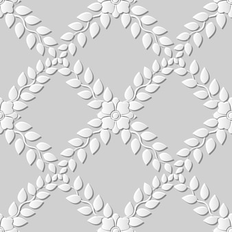 원활한 패턴 3d 백서 컷 아트 배경 크로스 잎 꽃 덩굴