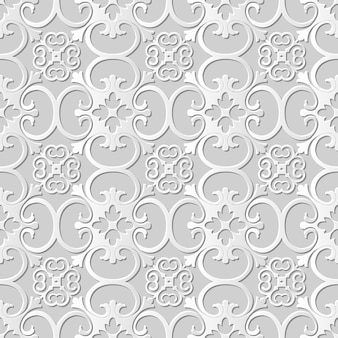 Seamless pattern 3d white paper cut art background curve spiral cross flower