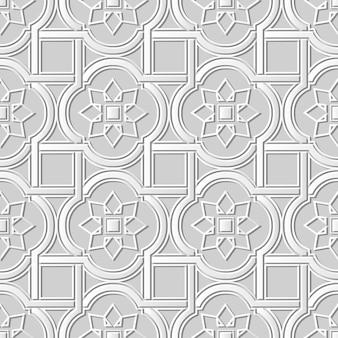 Seamless pattern 3d white paper cut art background curve square cross frame star flower