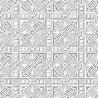 Seamless pattern 3d white paper cut art background square cross star flower