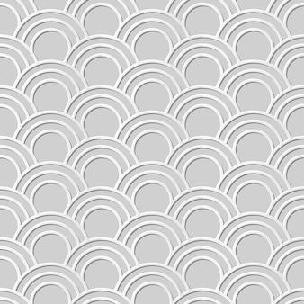 Бесшовный узор 3d белая бумага вырезать искусство восточная рыбья чешуя круглая кривая линия