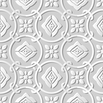 Seamless pattern 3d white paper cut art round circle cross chain flower
