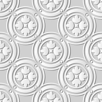 シームレスパターン3 dホワイトペーパーカットアートラウンドサークルフレームクロス花