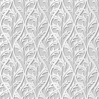 Seamless pattern 3d white paper cut art vintage nature leaf cross