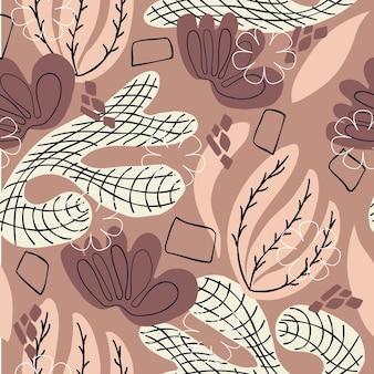 원활한 패턴 추상 꽃 laves와 갈색 배경 손으로 그리기 요소