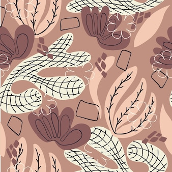 Seamless pattern abstract flowers laves and elements drawing on brown background hand drawn
