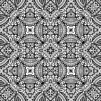 완벽 한 패턴 추상적인 기하학적 장식 부족 디자인 흑백