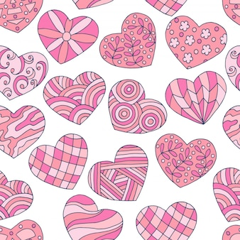 Seamless pattern of abstract hand-drawn pink hearts for valentine's day