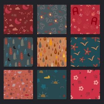 シームレスパターン。抽象ラインポップアートコレクションボヘミアンスタイル