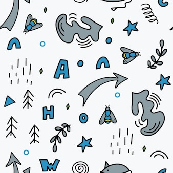 Seamless pattern of abstract vector elements in a simple doodle style