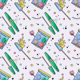 Seamless pattern accessories makeup