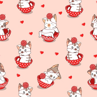 Seamless pattern adorable cat inside red bowl with yarn