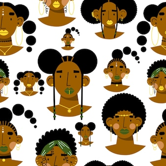 Seamless pattern of african women faces flat vector illustration