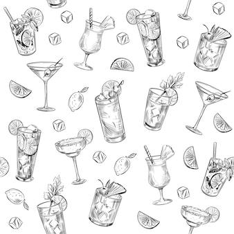 シームレスパターン。アルコールカクテル。バックグラウンド。マティーニ、モヒート、ピニャコラーダ、マルガリータ。