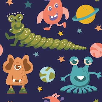 Seamless pattern of alien cute monsters and various planets and galactic stars