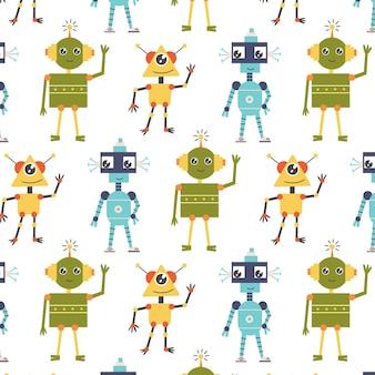 Seamless pattern alien robots