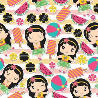 Seamless pattern of aloha girl and summer elements on striped background