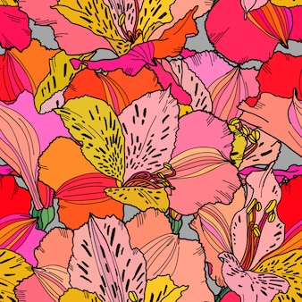 Seamless pattern alstroemeria hand drawn bright multi color flowers repeatable wallpaper.