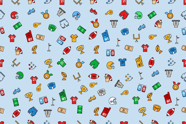 Seamless pattern of american football color and line icon