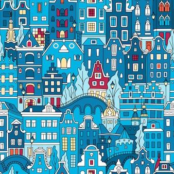 원활한 패턴, 암스테르담 전형적인 네덜란드 주택