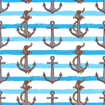 Seamless pattern of anchors. hand-drawn illustration