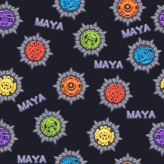 シームレスパターン古代メキシコの神話のシンボル、さまざまなアメリカのアステカのシンボル、マヤ文化のネイティブトーテム。ベクトルアイコン。