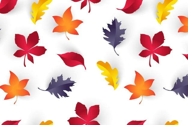 Бесшовный узор и осенние листья оранжевого и желтого цвета идеально подходят для w