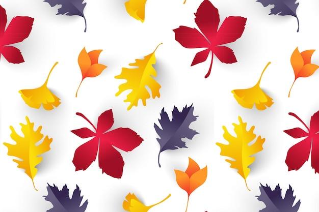 Бесшовный узор и осенние листья в оранжевых, бежевых и желтых тонах.