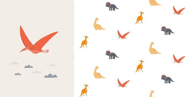 かわいい恐竜とのシームレスなパターンとカード。先史時代。子供のイラスト。