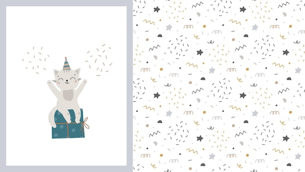 ギフトボックスと風船とかわいい小さな猫とのシームレスなパターンとカード子供のイラスト