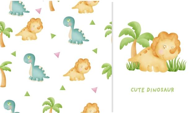 かわいい恐竜コレクション水彩画とのシームレスなパターンとグリーティングカード Premiumベクター