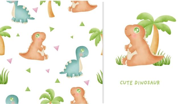 かわいい恐竜コレクション水彩画とのシームレスなパターンとグリーティングカード