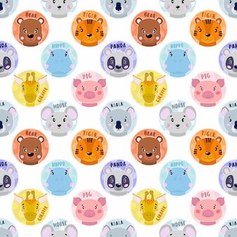 Seamless pattern animal face. funny head muzzle.