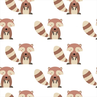 Seamless pattern animal forest background