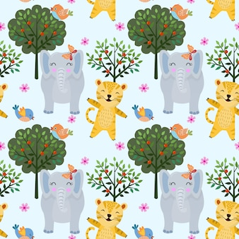 Seamless pattern animal in forest with tiger and elephant. can use for fabric textile wallpaper.