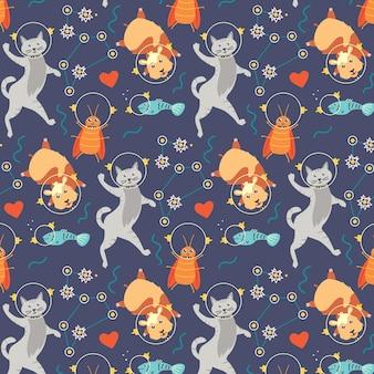 원활한 패턴 동물 우주 비행사 고양이 햄스터 바퀴벌레 물고기