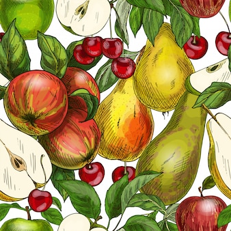 Seamless pattern, apples, pears and cherries