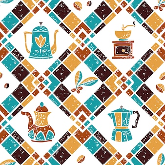 Seamless pattern argyle and coffeepots
