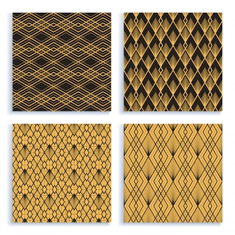 Seamless pattern in art deco style. set of four