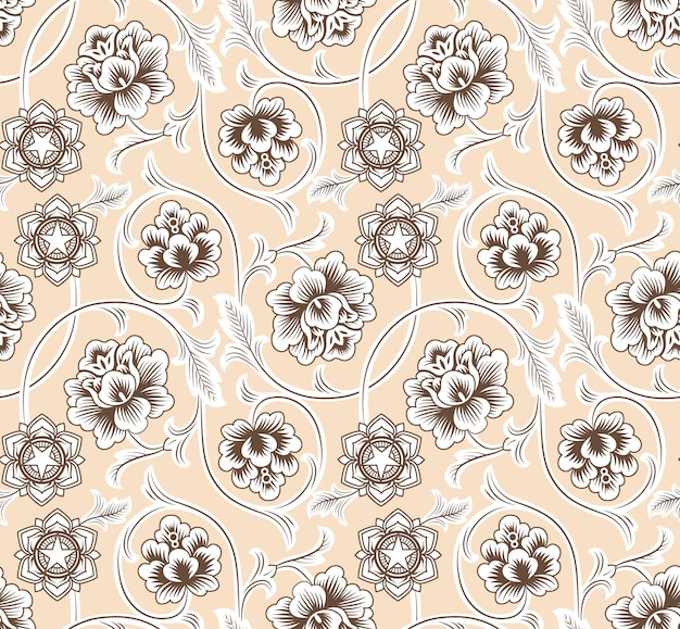 Seamless pattern asian ornament with flowers on beige.