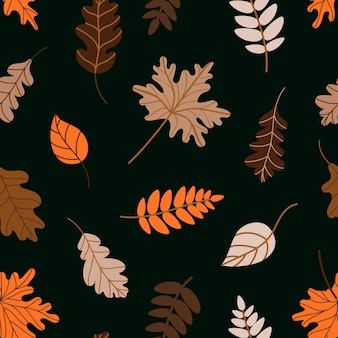 Seamless pattern of assorted withered leaves on dark green background