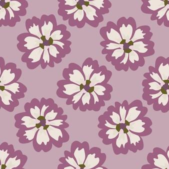 분홍색 배경에 원활한 패턴 애 스터입니다. 낙서 스타일의 아름 다운 질감 흰색 꽃입니다. 직물에 대한 기하학적 꽃 템플릿입니다. 디자인 벡터 일러스트 레이 션.